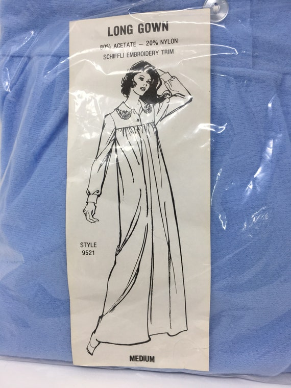 Vintage Woolworth Velour Long Gown Nightgown Schiffli Embroidery Trim