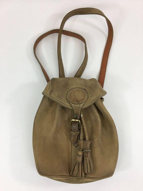 Vintage Dooney \u0026 Bourke Leather Backpack Bag Purse Brass Hardware Tassel  Drawstring Tan