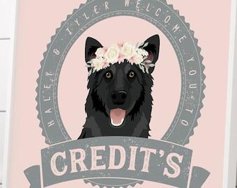 Wedding Pet Portrait Sign > German shepherd canvas art print, custom dog bar wall, gray and blush pet portrait of dog of honor