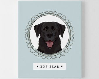Black Lab Sign > Custom labrador retriever portrait drawing, bespoke dog illustration, blue cartoon pet illustration canvas, unique dog gift