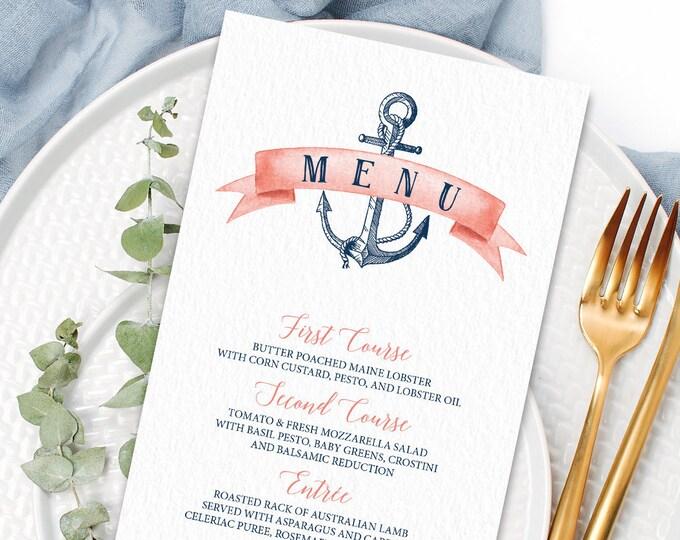 Nautical Menu Card, Coral Navy Blue Wedding Menu for Beach Destination Wedding, Menu Tent Cards > PRINTED Menus or Printable