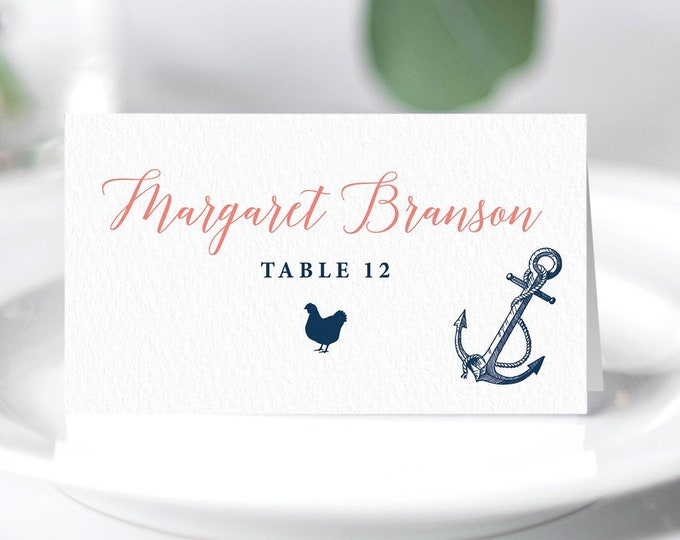 Nautical Place Cards, Coral Navy Blue Wedding Seating Cards for Beach Destination Wedding, Escort Card, Folded Tent Card >PRINTED Place Card