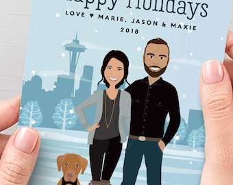 Seattle Holiday Card, Custom Family Portrait with Pet, Personalized Christmas Cards, Printed Cards 5x7