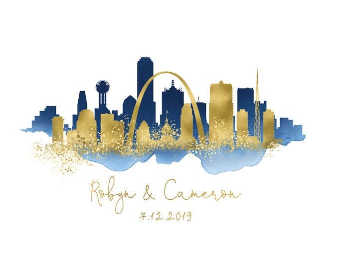 Wedding Guest Book Alternative Sign > St Louis & Dallas skyline guestbook •Navy watercolor and faux metallic gold • Canvas sign for wedding