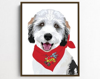 Custom dog portrait from photo for dog mom •Personalized dog cartoon with red bandana •New pet adoption gift or pet loss memorial