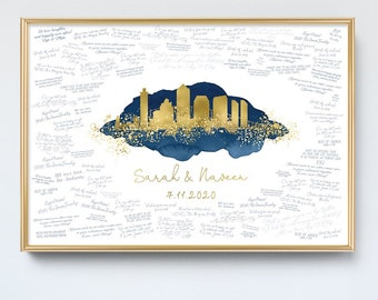 Wedding Guest Book Alternative > San Diego skyline sign, Faux metallic gold and navy watercolor print, California wedding guestbook canvas