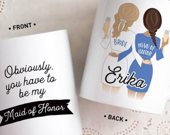 Maid of Honor Proposal Mug, Will You Be My MOH? Personalized Coffee Mug, Robe Custom Portrait, Bridal Party Favor for Bridesmaid Box