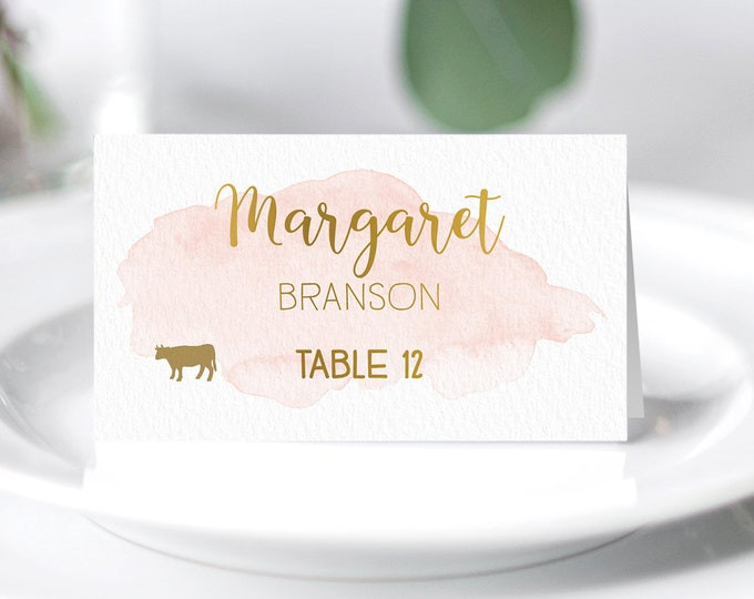 Gold and Blush Place Cards, Pink Blush Watercolor Wedding Seating Cards, Faux Gold Escort Cards, Folded Tent Card  > PRINTED Place Card
