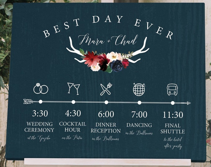 Rustic Schedule of Events Sign, Wedding Agenda, Burgundy Navy Boho Wedding Schedule Print > PRINTED Sign for Wedding {or} Printable Sign