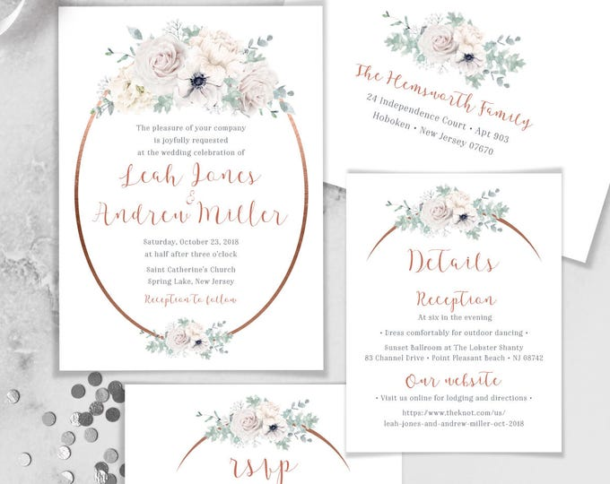 Boho Wedding Invitation Set / White Flowers and Rose Gold Arch / Anemone, Rose, Peony, Dusty Miller ▷ Printed Invitations {or} Printable