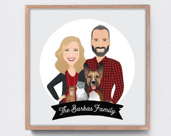 Custom Portrait Sign, Couple with Pet Portrait, Dog Illustration & Cat Portrait, Personalized Family Print, Housewarming Gift Idea