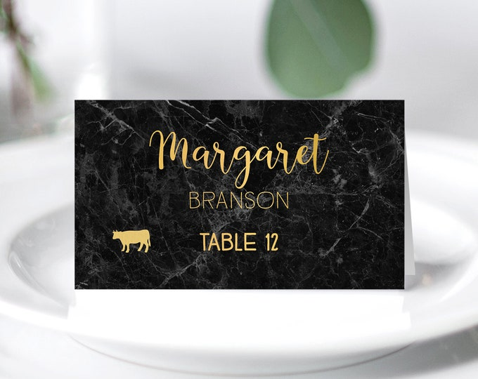 Black and Gold Place Cards, Elegant Marble Wedding Seating Cards, Faux Metallic Gold Escort Cards, Folded Tent Card  > PRINTED Place Cards