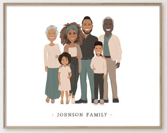 Custom family portrait with children > Personalized family illustration on white, Unique family gift idea for parents, kids or grandparents
