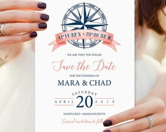 Nautical Save The Date, Coral Navy Blue Wedding Card for Beach Destination Wedding, PRINTED STDs or printable cards