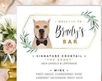 Pet Portrait, Greenery Wedding Bar Menu Sign, Signature Cocktails Sign, Signature Drink Print, Custom Pet Portrait Canvas Sign for Wedding