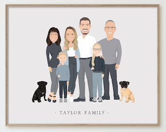 Personalized family portrait with kids > Custom family illustration in neutral colors, Unique gift for grandparents or family with children