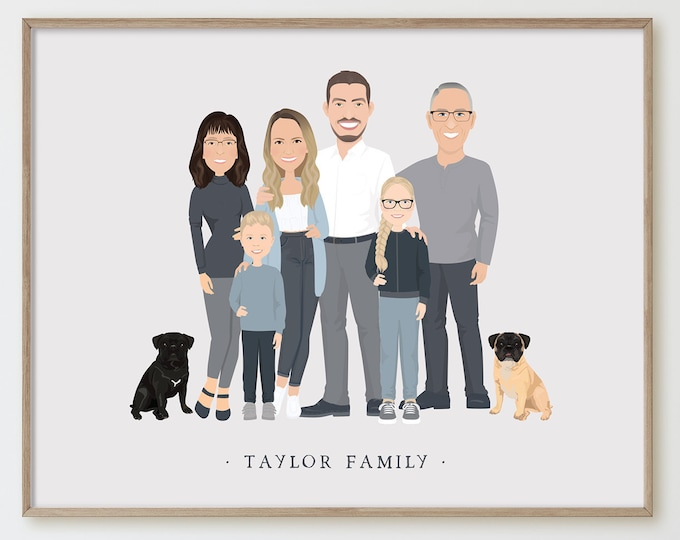 Featured listing image: Personalized family portrait with kids > Custom family illustration in neutral colors, Unique gift for grandparents or family with children