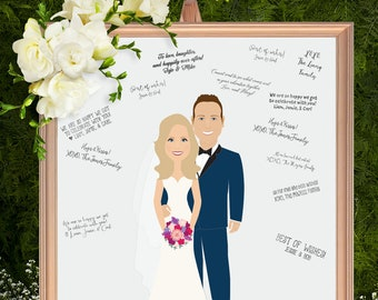 Wedding Guest Book Alternative / Illustration Cartoon Portrait / Pet Dogs / Guestbook Idea ▷ Canvas Guest Book, Paper Print {or} Printable