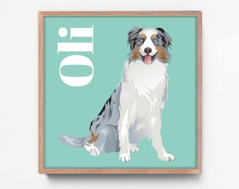 Dog Portrait Custom Art, Personalized Dog Portrait Canvas, Australian Shepherd Gift Idea for Dog Mom, Blue Merle Pet Art