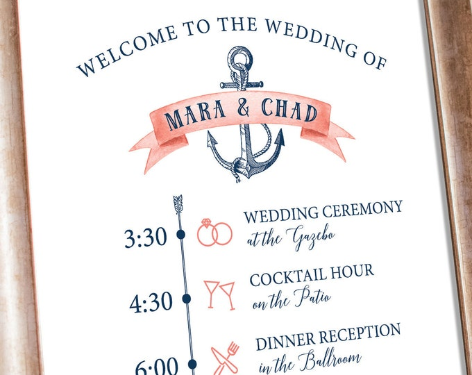 Nautical Wedding Agenda Sign, Schedule of Events, Coral Navy Blue Wedding Schedule Print > PRINTED Sign for Wedding {or} Printable Sign