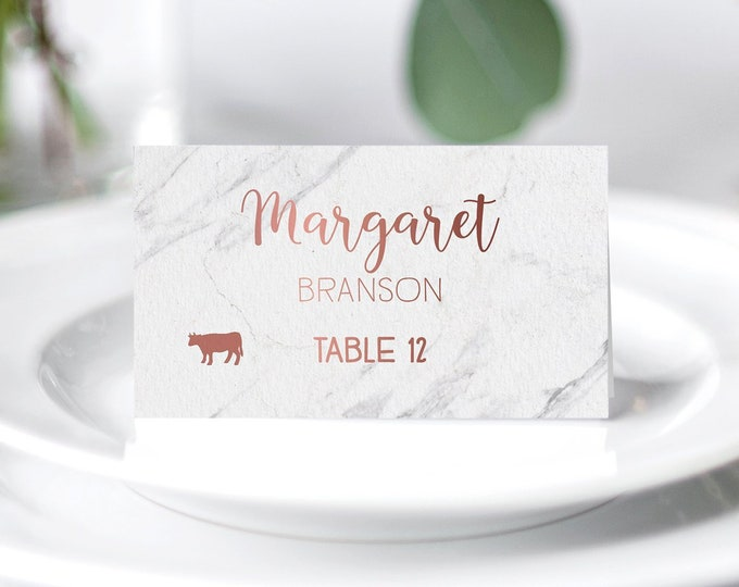 Marble Place Cards, Modern Wedding Seating Cards, Faux Rose Gold Escort Cards, Folded Tent Card  > PRINTED Place Cards