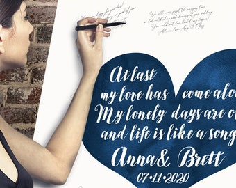Wedding Guest Book Alternative > Boho Calligraphy on Navy Blue Watercolor Heart, Wedding Song Lyrics Canvas Guestbook Sign