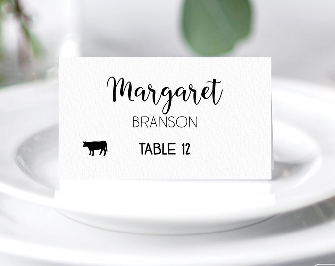 Calligraphy Place Cards, Elegant Wedding Seating Cards, Minimalist Black and White Escort Cards, Folded Tent Card  > PRINTED Place Cards