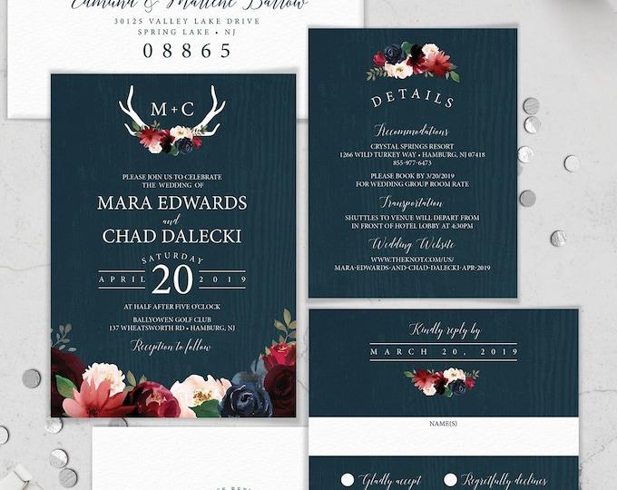 Boho Wedding Invitation Suite, Blush Navy Rustic Wedding Invite Set, Burgundy Flowers and Deer Antlers, PRINTED INVITATION SET or printable