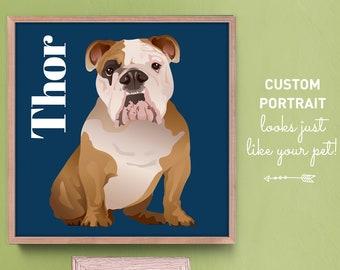 Pop Art Pet Portrait Canvas, Personalized Dog Portrait Print, English Bulldog Gift Idea for Dog Mom, Navy Blue Modern Pet Art