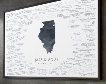 State GUESTBOOK alternative > Wedding sign in with dark gray watercolor art, Illinois state guest book for Chicago wedding