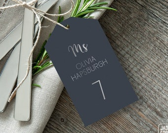 Silver and Gray Place Cards, Neutral Wedding Seating Tags with String, Faux Metallic Silver Escort Cards  > PRINTED Place Cards