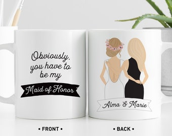 Maid of Honor Proposal Mug, Will You Be My MOH? Personalized Coffee Mug Custom Name, Portrait Bridal Party Favor for Bridesmaid Box