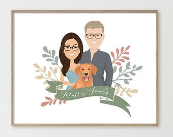 Family portrait illustration > Custom cartoon portrait with dog, Drawing from photo with golden doodle, Canvas or paper, Anniversary gift