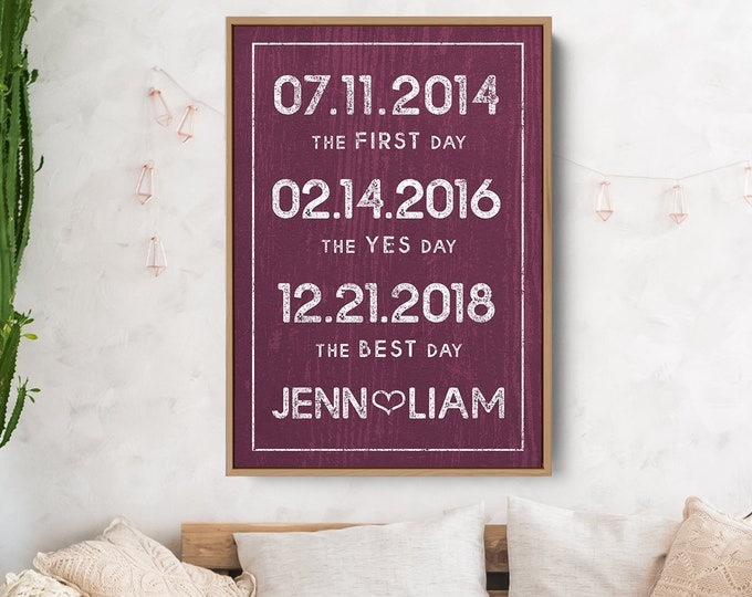 Burgundy Wedding Sign, Rustic Special Date Canvas, Large Anniversary Print, Milestone Dates, Wedding Gift Idea for Wife, Valentine's Day