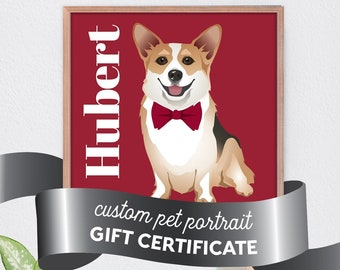 GIFT CERTIFICATE for Personalized Pet Portrait Illustration, Custom Dog Portrait Sign, Last Minute Gift Idea for Pet Parent, Modern Pet Art