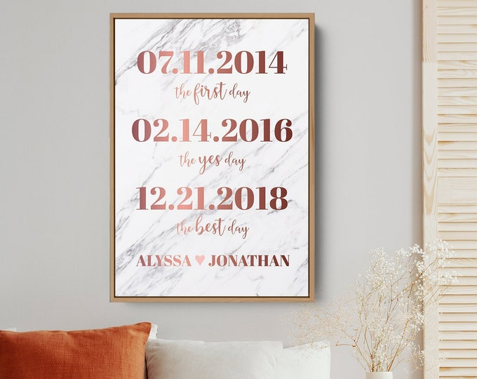 Rose Gold Dates Canvas Sign, Marble Print Milestone Print Wall Art, Framed Paper Anniversary Gift Idea for Husband, Valentine's Day