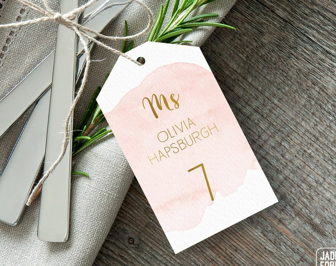 Gold and Blush Place Cards, Pink Blush Watercolor Wedding Seating Tags with String, Faux Gold Escort Cards  > PRINTED Place Cards