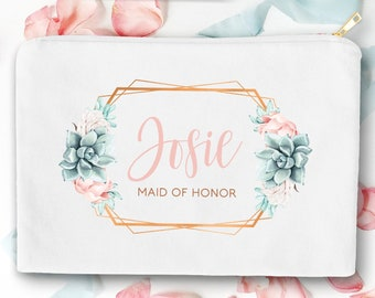 Succulent Maid of Honor Bag, Custom MOH Gift Idea under 25, Personalized Makeup Bag, Canvas Cosmetic Bag, Copper Succulent Bag
