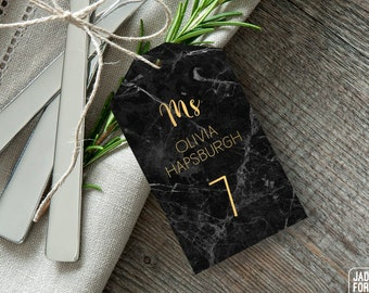 Black and Gold Place Cards, Elegant Marble Wedding Seating Tags with String, Faux Metallic Gold Escort Cards  > PRINTED Place Cards