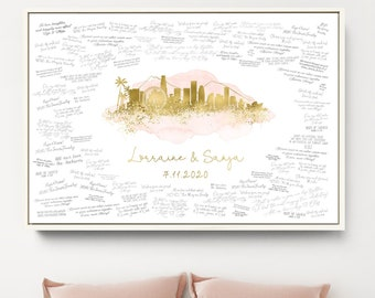 Wedding Guest Book Canvas > Los Angeles skyline sign, Blush watercolor and faux metallic gold print, Wedding guestbook alternative poster