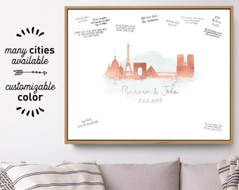 Wedding Guest Book Alternative > Paris skyline guestbook, Gray watercolor and faux metallic rose gold print, Canvas sign for wedding