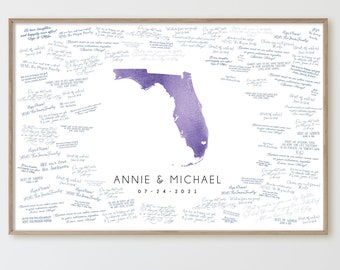 Wedding GUEST BOOK alternative > Florida state map guestbook for Miami wedding, Lavender or amethyst purple watercolor art