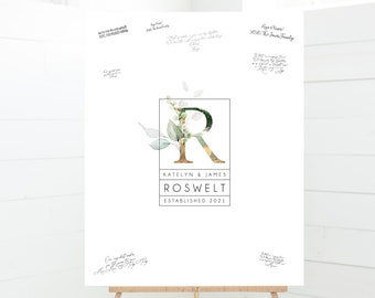 Minimalist Guestbook Alternative > wedding logo canvas guest book print, gold and greenery monogram with last name, custom framed guestbook