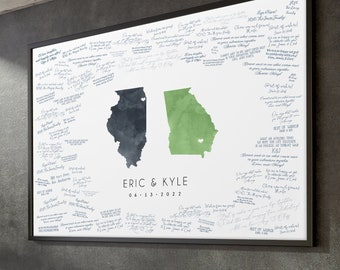 Guest Book Alternative > custom wedding guestbook canvas, green and gray watercolor state map (shown personalized for Illinois and Georgia)
