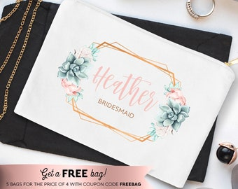 Succulent Bridesmaid Bag, Custom Bridesmaid Gift Idea under 25, Personalized Makeup Bag, Canvas Cosmetic Bag, Copper Succulent