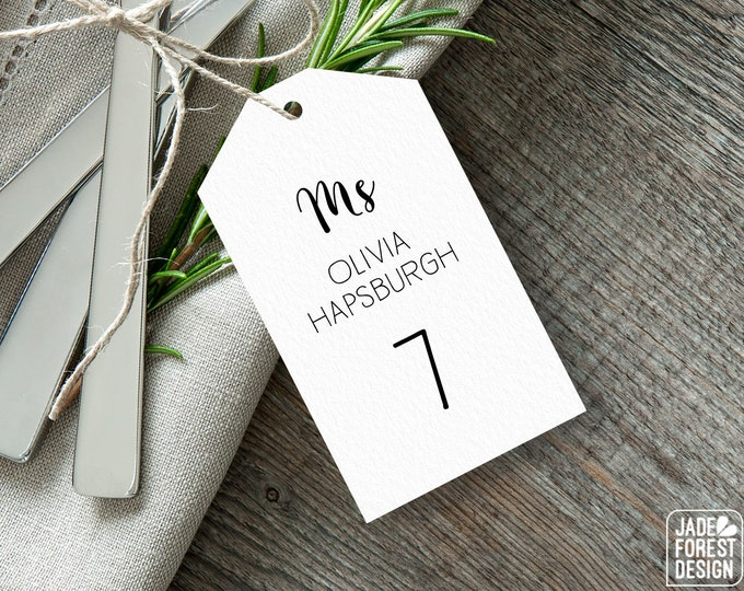 Calligraphy Place Cards, Elegant Wedding Seating Tags with String, Minimalist Black and White Escort Cards > PRINTED Seating Cards