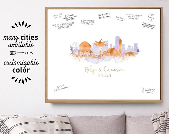 Wedding Guest Book Alternative Sign > San Francisco & Maldives skyline guestbook •Lavender watercolor and faux metallic copper canvas print