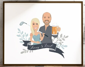 Custom couple portrait sign > Personalized cartoon drawing with golf club and beer mug, Framed canvas or paper, Anniversary gift idea