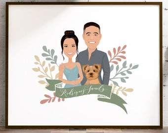 Family portrait sign > Personalized drawing from photo, Custom cartoon portrait with yorkie dog, Framed canvas or paper, Anniversary gift
