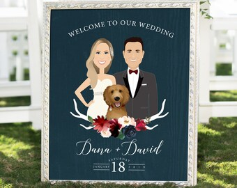 Rustic Wedding Welcome Sign, Burgundy Navy Boho Custom Couple Portrait Canvas, Marsala Blush Flower > PRINTED Sign for Wedding or Printable